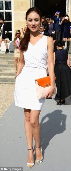Olga Kurylenko.. in white and pops of bright colors.. Christian Dior Spring Summer 2014 show.. Paris Fashion Week..
