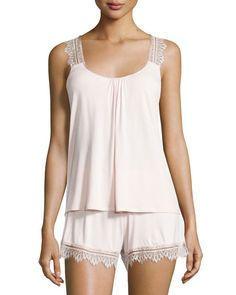 """Fleur't """"Breathless"""" pajama set with delicate lace trim. Scoop neckline. Sleeveless; scalloped shoulder straps. Racerback. Relaxed silhouette. Pullover style. Includes matching shorts with elastic waist. Lace-trim at hem. Pull-on style. Rayon/spandex. Imported."""