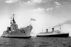 The Royal Navy's last battleship, 15 in HMS Vanguard, alongside Cunard liner RMS Queen Elizabeth, Hms Vanguard, Rms Queen Elizabeth, Capital Ship, Army & Navy, Navy Ships, Kingdom Of Great Britain, Submarines, Royal Navy, Water Crafts
