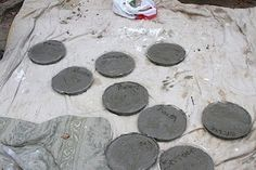 Construction party party favors: Personalized stepping stones. Use quick setting concrete and they are ready for take home at the end of the party!