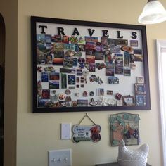 Family collage picture frames home decor magnetic photo display refrigerato Family Picture Collages, Family Collage, Collage Picture Frames, Souvenir Display, Souvenir Ideas, Travel Collage, Travel Wall, Fun Travel, Travel Souvenirs