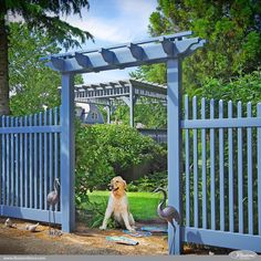 Stunning Federal Blue PVC Vinyl Pergola and Picket Fence by @illusionsfence. Illusions color PVC vinyl fence is changing the face of American landscaping.