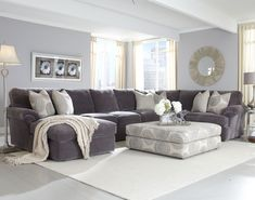 Grey sectional with light blue walls Bradley Sectional. Not a fan of the light blue walls. - DIY Home Decor Living Room Sofa, Living Room Furniture, Deep Seated Sofa, Livingroom Layout, Living Room On A Budget, Living Room Sectional, Large Sectional Sofa, Living Decor, Living Room Pillows