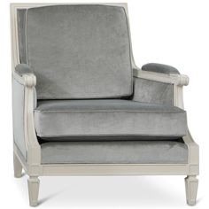 Maureen Hollywood Regency Grey Velvet Ivory Lacquer Wood Armchair | Kathy Kuo Home
