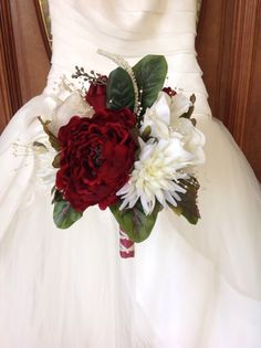Red and White Bouquet, Red Peony Bouquet, Winter Wedding Bridal Bouquet, Peony and Magnolia Bouquet, Red and White Bridal Bouquet - pinned by pin4etsy.com