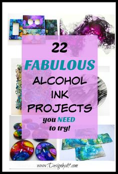 Check out these fabulous alcohol ink projects. Artwork, tile coasters, jewelry, mugs dominos and so many more. Alcohol inks are easy to use and give beautiful results. Who knew you could use alcohol inks in so many different ways and on so many surfa Alcohol Ink Tiles, Alcohol Ink Glass, Alcohol Ink Crafts, Alcohol Ink Painting, Sharpie Alcohol, Creative Crafts, Fun Crafts, Diy And Crafts, Crafts