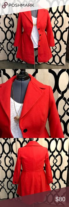 City Chic Red Trench Coat NWOT! Have you been looking for the perfect coat for winter? Or maybe even just a beautiful red coat? Then this one is for you. The red is a rich, vibrant colour - and the fabric is so soft, you can't stop touching it. But the best thing, is how flattering it is. It has a nice waist, that flares out for easy movement and cute booty. The big black buttons are fun, and stylish. This coat will keep you warm, and looking fabulous all winter. Picture it with some tall…