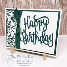 New Catalog Sneak Peek featuring Happy Birthday Thinlits and In Colors - Tranquil Tide In Color Card Happy Birthday Words, Happy Birthday Gorgeous, Birthday Cards For Women, Handmade Birthday Cards, Birthday Diy, Making Greeting Cards, Greeting Cards Handmade, Stamping Up Cards, Scrapbook Cards