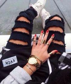 jewels jeans black holes ripped torn skinny jeans pants trousers skinny pants ripped jeans