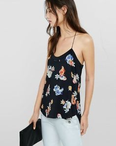 floral print strappy racerback cami from EXPRESS