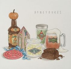 Another picture! I really like the tiny honeydukes labels but I think my favorite would have to be the block of chocolate 🍫 Fanart Harry Potter, Harry Potter Tattoos, Harry Potter Artwork, Harry Potter Drawings, Harry Potter Quotes, Harry Potter Books, Harry Potter Fan Art, Harry Potter World, Geeks