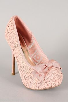 Wild Diva Lounge Sonny-73 Bow Lace Platform High Heels Shoes Pumps Mint or Nude on Chiq $