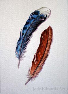 Blue Jay and Cardinal feather study Original by jodyvanB on Etsy