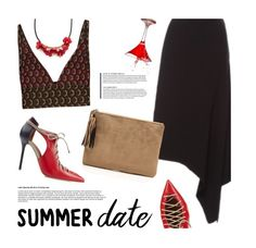 """""""Summer"""" by magdafunk ❤ liked on Polyvore featuring Marni, Malone Souliers, skirt, croptop, summerdate and rooftopbar"""