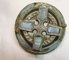 Victorian Scottish St. Andrew Cross Broach in Silver and Agate