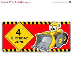 ON SALE Construction Tractor Birthday Zone by TheWrapperPress
