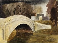'The Bridge at Tyringham, Buckinghamshire' by John Piper from the 'Recording Britain' series, 1940 (pen and ink and watercolour on paper) John Piper Artist, Bridge Builder, Coventry Cathedral, Light Rays, Victoria And Albert Museum, Wonders Of The World, Landscape Paintings, Watercolor, Abstract