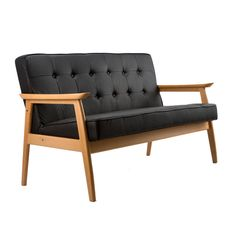 Wood/Leather Love Seat
