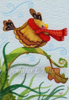 Original ACEO watercolor painting Autumn Wind bird by JLNilsson, $20.00