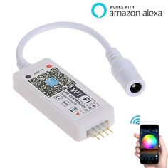 LED WiFi Controller Works with Alexa/Google Home Voice Control for 5050/3528 RGB LED Strip Lights with 16 Million Colors Change/Dimmer/Timer/Sound Activated - Free Apple/Android App Control