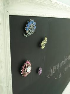 "Magnetic chalk board~ so cute and easy to make...could easily make a ""boy"" version as well...planning to do this tommorow!"