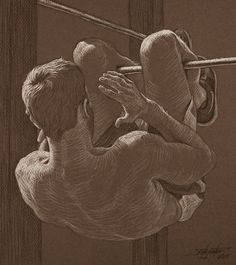 """""""Crunch"""" by Rita Foster, black and white charcoal on dark gray paper; fine art male anatomy drawing"""