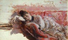 Alaide Banti on a Red Couch, 1885 ~ Giovanni Boldini ~ (Italian: 1842-1931)
