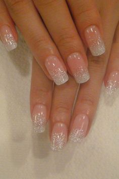 classic style baby pink shiny wedding nails
