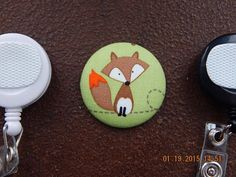 Fox Fabric Covered Button for Clip on by tallulahssatchels on Etsy (Accessories, Lanyard, badge reel, retractable, badge strap, clip on, lanyard, fabric button, tag holder, id badge reel, name tag, id, velcro button, fox fabric button, fox badge reel)