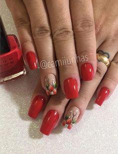 UNHAS VERMELHAS DECORADAS 2020 - Luiza Gomes Square Nail Designs, Elegant Nail Designs, Fall Nail Art Designs, Acrylic Nail Designs, Cute Acrylic Nails, Cute Nails, Pretty Nails, Red Nails, Hair And Nails