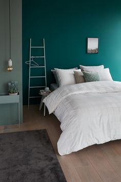 This is how you get summer in your bedroom: inspiration Bedroom Decor For Small Rooms, Bedroom Colors, Bedroom Wall, Diy Bedroom Decor, Bedroom Furniture, Home Decor, Room Interior, Interior Design Living Room, Teal Rooms