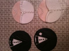 My first try at making bride n groom cupcake toppers