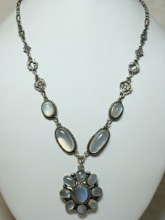 Antique Arts and Crafts Sterling Moonstone Necklace