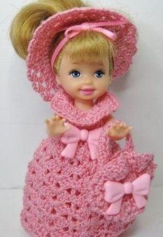 Kelly DOll in Pink Crochet dress