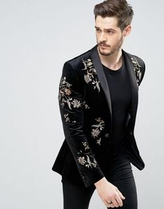 Buy ASOS Skinny Blazer In Black Velvet With Embroidery at ASOS. With free delivery and return options (Ts&Cs apply), online shopping has never been so easy. Get the latest trends with ASOS now. Mens Casual Dress Outfits, Blazer Outfits Men, Dress Suits For Men, Indian Men Fashion, Mens Fashion Suits, Boys Kurta Design, Wedding Dresses Men Indian, Black Suit Men, Mens Kurta Designs