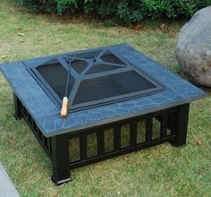Patio-32-Fire-Pit-Metal-Stove-Barbecue-BBQ-Grill-Fireplace-Heater-Square-Table