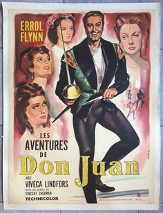 Affiche AVENTURES DE DON JUAN Adventures of Don Juan ERROL FLYNN Entoilée R60x80