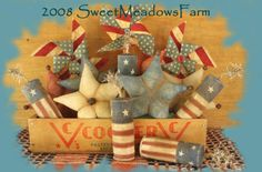 E-pattern Americana Ornies, Pinwheels, firecrackers and stars PDF - pinned by pin4etsy.com