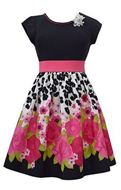 Big Girls Tween Black/Fuchsia Floral Border Print Fit and Flare Dress, Fuchsia, Bonnie Jean, Social Party Dress Frocks For Girls, Kids Frocks, Dresses Kids Girl, Little Dresses, Cute Dresses, Frock Design, Little Girl Fashion, Kids Fashion, Baby Frocks Designs