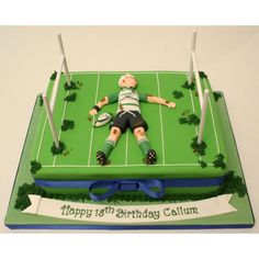 Coolest Sports Birthday Cake Recipes And Photos Sports Birthday Cakes, 13 Birthday Cake, Birthday Ideas, Rugby Cake, Chocolate Sponge, Chocolate Cakes, Sport Cakes, Buttercream Filling, Vanilla Sponge
