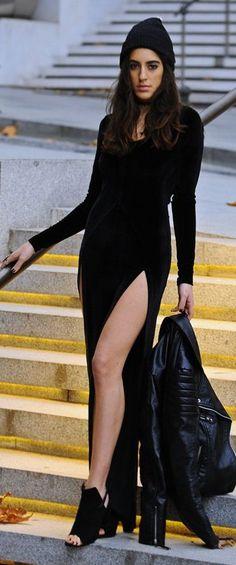 Black Double Split Party Maxi Dress
