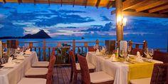 Cap Maison Villa Resort & Spa  ( Cap Estate, St. Lucia )  The Cliff at Cap Restaurant overlooks Smugglers Cove Beach. #Jetsetter #JSSunrise