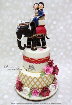 Indian Wedding Cakes, Themed Wedding Cakes, Wedding Cakes With Cupcakes, Elegant Wedding Cakes, Wedding Cake Designs, Engagement Cake Design, Engagement Cakes, Bollywood Cake, Peacock Cake