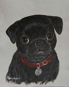 Black Pug Puppy Portrait with custom name tag, original acrylic dog painting   eBay
