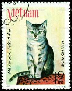 A stamp printed in Vietnam shows house cat Meo muap, series, circa 1979.