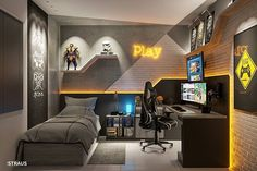 Another bedroom setup for you. Gamer Bedroom, Bedroom Games, Bedroom Setup, Boys Bedroom Decor, Small Game Rooms, Gaming Room Setup, Home Office Setup, Game Room Design, Game Room Decor