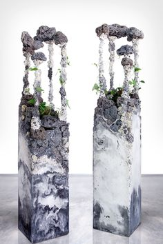 Jamie North, Trophic Cascade #1 and #2 2014 cement, steel slag, coal ash, marble waste, galvanised steel, Australian native plants