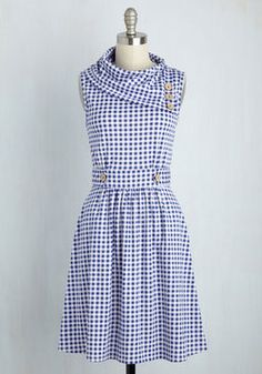 Coach Tour Dress in Gingham. Sometimes a dress is so magical, it makes you long for somewhere special and new to wear it. #blue #modcloth