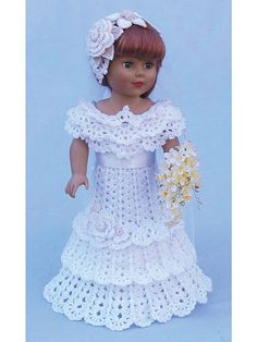 "Every little girl dreams of that special wedding day. Crochet a bridal party for your 18"" dolls. Pattern includes a beautiful bride's dress and bridesmaids' outfit. Designs are crocheted using baby- or sport-weight yarn."