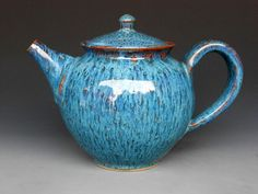 handmade teapot pottery in ocean blue